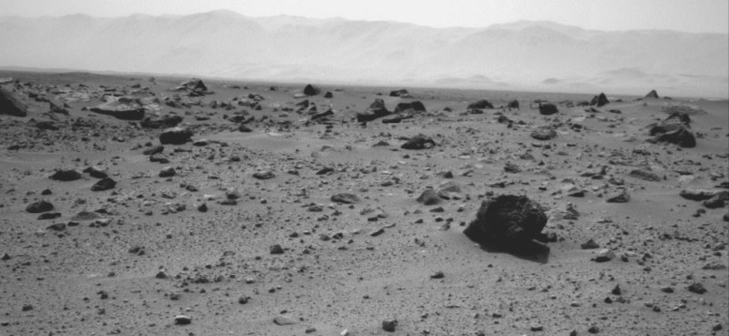 An image from the Curiosity Rover's navigation camera taken July 28, 2013 as it makes its way from Gale Crater to Mount Sharp. Photo credit: NASA/JPL-Caltech