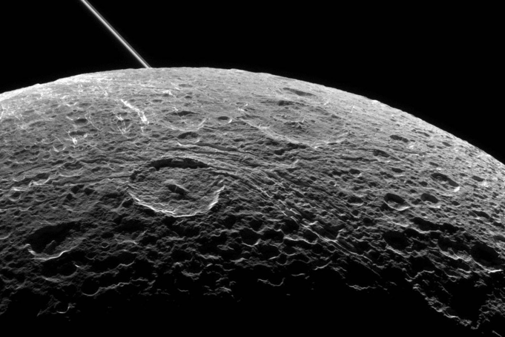 Jupiter's moon Dione as seen from Cassini