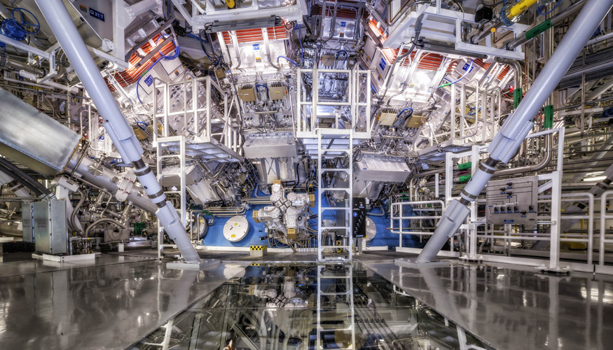 NIF's target chamber is where the magic happens – temperatures of 100 million degrees and pressures extreme enough to compress the target to densities up to 100 times the density of lead are created there. Photo by Damien Jemison/LLNL